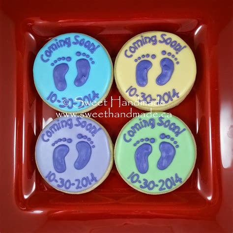 sweet handmade cookies baby announcement cookies