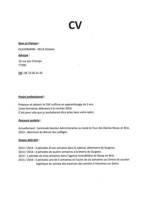 lettre de motivation pour cap cuisine cv pour apprentissage cap coiffure starengineering in