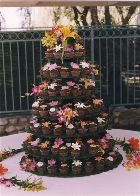 Cupcake Wedding Cake For A Hawaiian Themed Wedding My