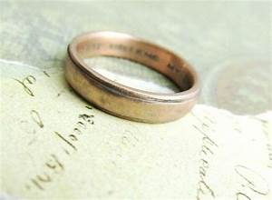 Custom made rustic men39s wedding band in rose gold by for Mens vintage wedding ring