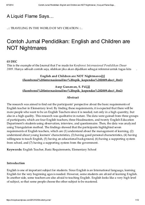 Contoh jurnal pendidikan english and children are not