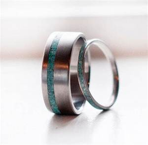 Matching pair turquoise wedding bands from stagheaddesigns on for Mens turquoise wedding rings