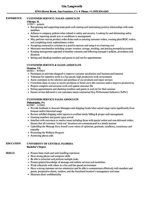 Phone Customer Service Resume by Customer Service Sales Associate Resume Sles Velvet