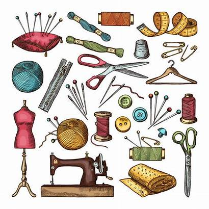 Sewing Tools Cartoon Vector Drawing Different Workshop