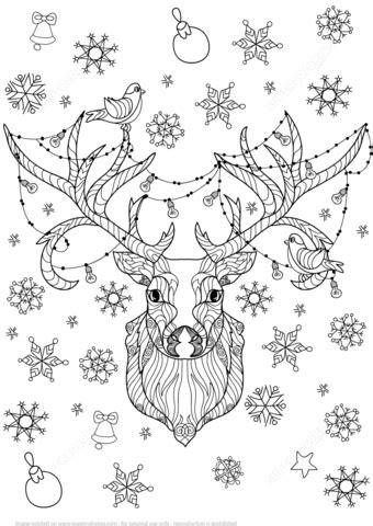 christmas deer  light bulbs garland zentangle coloring page  printable coloring pages