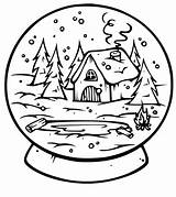 Coloring Pages Snow Globes Snowglobe Popular sketch template