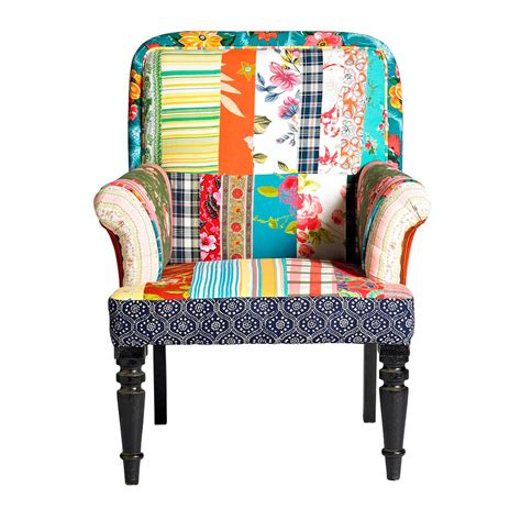 Retro Style Armchair by Vintage Style Patchwork Armchair By Nordal By Bell Blue