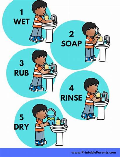 Printable Washing Hand Hands Wash Teach Chart