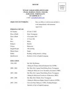 contoh resume terbaik bahasa melayu contoh resume terbaik bahasa melayu sles of resumes