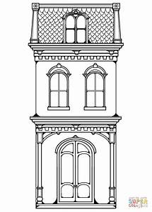 Victorian Row House coloring page | Free Printable ...