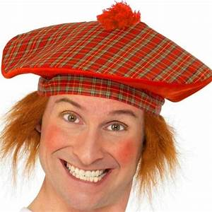 SCOTTISH SCOTS FANCY DRESS GINGER TARTAN RED HAT WITH HAIR