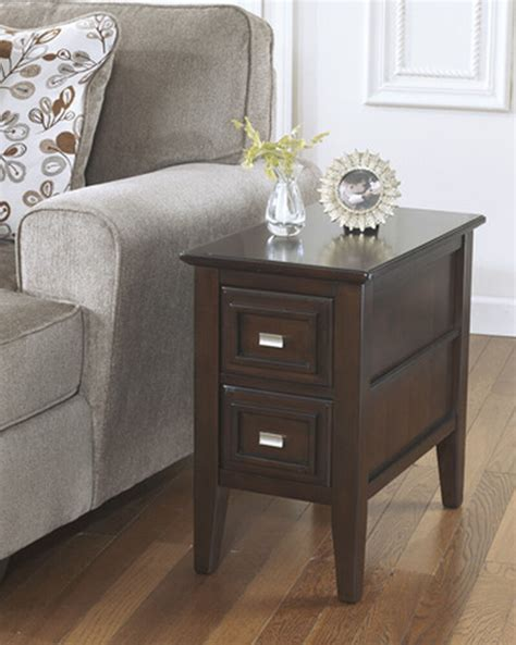 contemporary paneled  drawer  table  dark brown