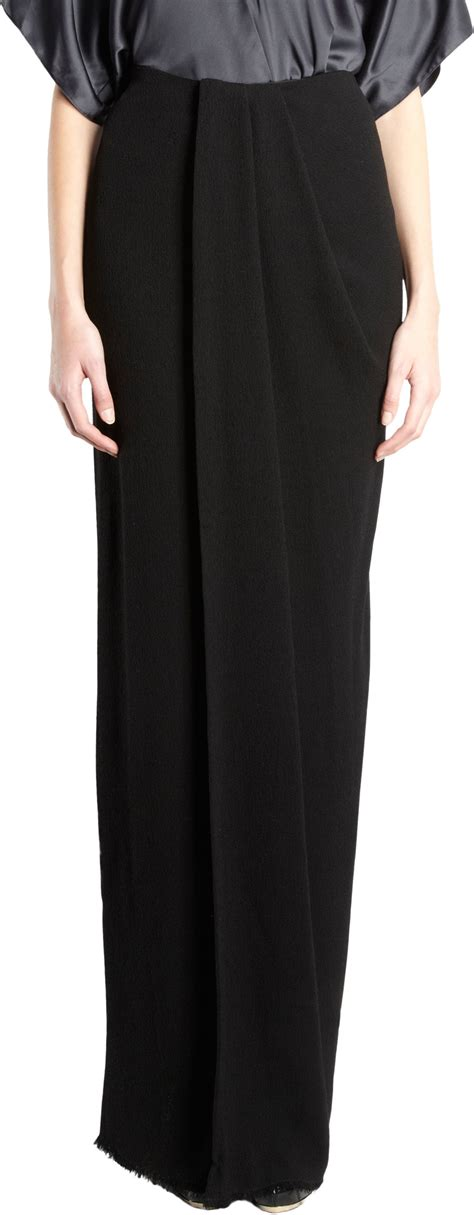 draped skirt lanvin draped maxi skirt in black lyst