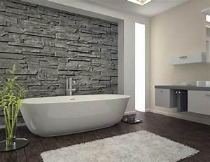 idees salles de bains pierre brute salle bain inspirations With salle de bain bois et pierre