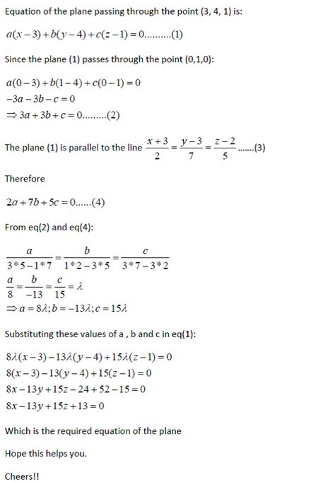 Find Cartesian Equation Of A Plane Given 3 Points