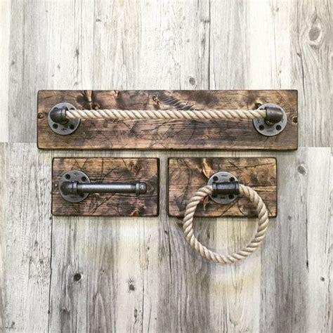Rustic Bathroom Accessories Sets by Industrial Rustic Handmade Bathroom Set Pipe Rope By