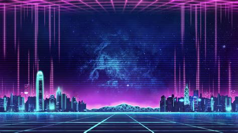 80s Neon City Wallpaper by Synthwave Retro Neon City In 2019 Neon