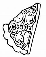 Pizza Coloring Pages Slice Pepperoni Sheets Pusheen Clipart Template Printable Popular Delicious sketch template