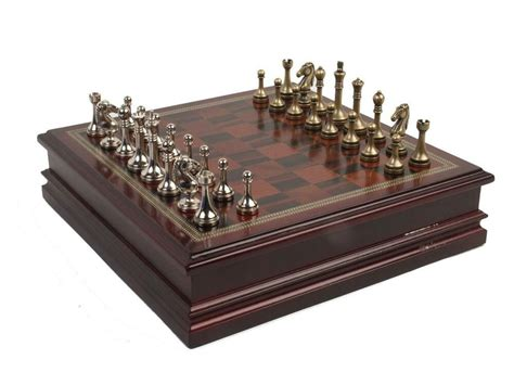New Metal Chess Set With Deluxe Wood Vintage Craft Board
