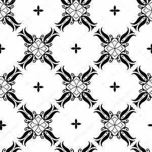 Simple black and white floral pattern — Stock Vector ...