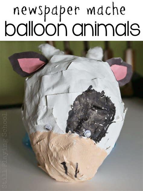 newspaper mache balloon animal craft  kids