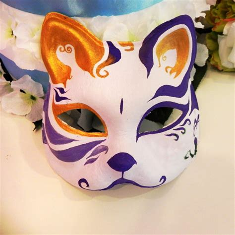 face hand painted japanese fox mask colorful pattern