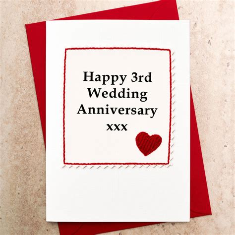 third wedding anniversary handmade 3rd wedding anniversary card by jenny arnott cards gifts notonthehighstreet com