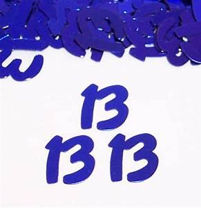 Metallic Blue Number 13 Confetti, 13th Confetti by the
