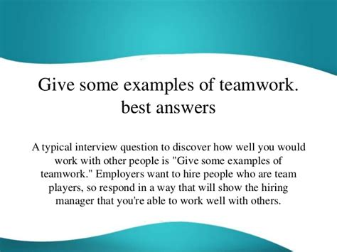 Give Some Examples Of Teamwork Best Answers. Finance Resumes. Resume Software. Professional Qualities For Resume. Resume Samples For Freshers Engineers Pdf. Inside Sales Resume. School Bus Driver Job Description For Resume. How To Put Fake Experience In Resume. Logistics Resume Objective Examples