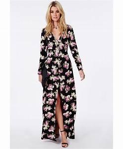 robe longue fendue decollete en v noire fleurie robes With chambre bébé design avec robe fleurie hiver