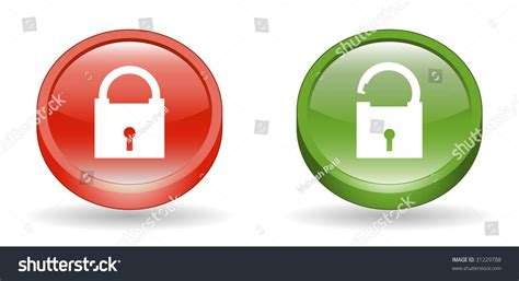 Lock Unlock Sign 3d Icons Stock Vector 31229788