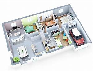 17 best images about maison de plain pied on pinterest With plan de maison 100m2 plein pied