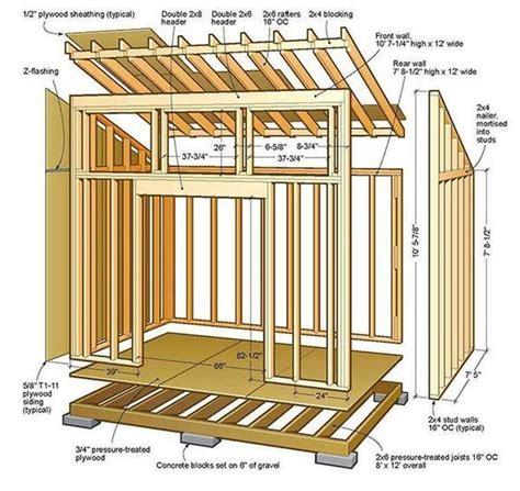 lean  shed plans  floor foundation wall frame carpentry   shed blueprints