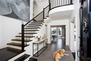 Double Bar Stool by Black Stair Railing Entry Traditional With Arch Archway