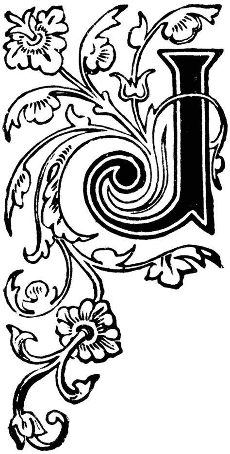 floral capital  clipart