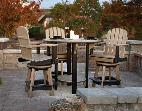 Outdoors Tables : Poly Lumber Pub Table W/3 Balcony Swivel Chairs