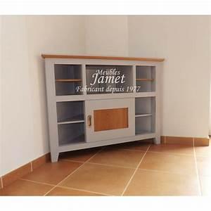 Meuble Tv Gris Laqué : meuble tv hifi d 39 angle laqu gris meubles jamet ~ Teatrodelosmanantiales.com Idées de Décoration