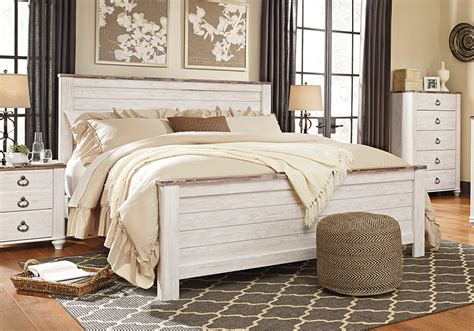 willowton whitewash king panel bed evansville overstock warehouse