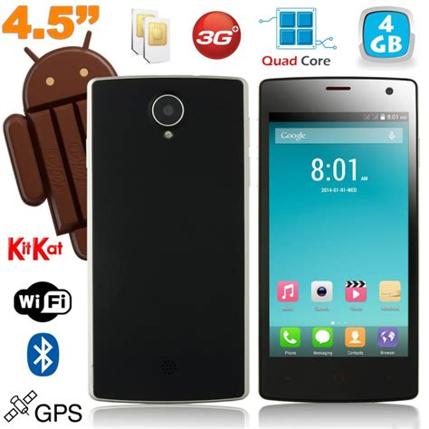 smartphone 4 5 pouces smartphone android dual sim 4 5 pouces kitkat noir