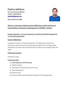 resume for credit manager pabitra adhikary resume credit manager