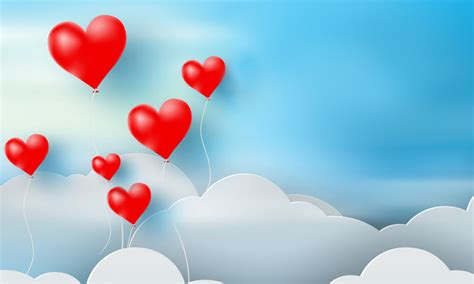 valentines day sky background  red heart ballon