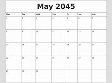 May 2045 Calendar Print Out