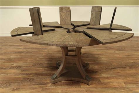 expandable  jupe style dining table  rustic finish