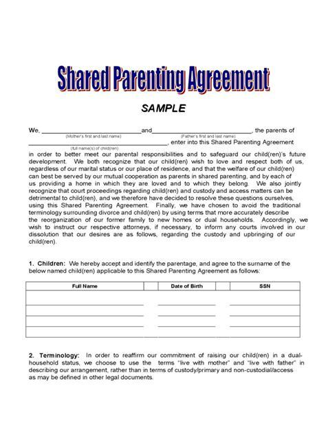 custody agreement template special  resume