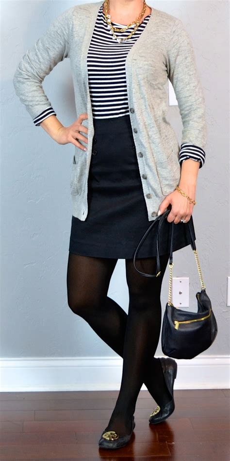 Outfit post striped shirt grey boyfriend cardigan black mini skirt black flats | Outfit Posts