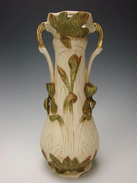 art nouveau royal dux vase porcelain china figural pottery