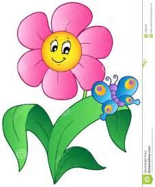 Cartoon Flowers and Butterflies