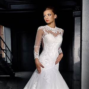 vestido de noiva mermaid wedding dresses long sleeve lace With see through wedding dress pictures