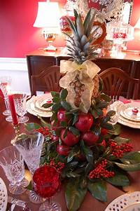 table decorations for christmas Christmas Tablescape with Lenox, Holiday and a Colonial Williamsburg Apple Tree Centerpiece