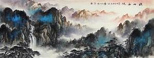 Rolling Hills Landscape Abstract art Chinese Ink Brush ...